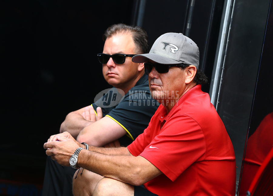 May 17, 2015; Commerce, GA, USA; NHRA top fuel driver Steve Torrence (left) sitting with his father Billy Torrence during the Southern Nationals at Atlanta Dragway. Mandatory Credit: Mark J. Rebilas-USA TODAY Sports