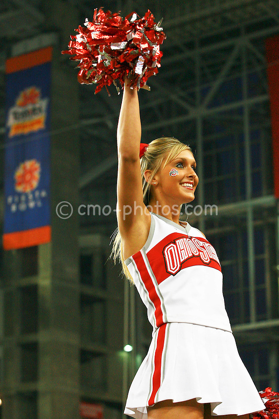 Jan 05, 2009; Glendale, AZ, USA; An Ohio State Buckeyes Cheerleader prior to the Fiesta Bowl against the Texas Longhorns at University of Phoenix Stadium.  The Longhorns won the game 24-21.