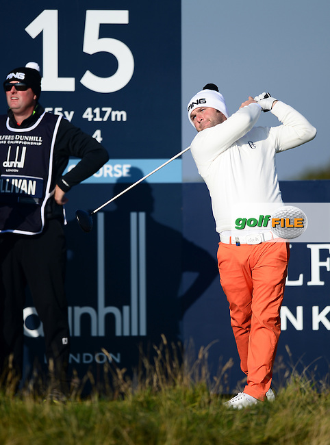 Andy Sullivan of England tees off during Round 2 of the 2015 Alfred Dunhill Links Championship at the Old Course, St Andrews, in Fife, Scotland on 2/10/15.<br /> Picture: Richard Martin-Roberts | Golffile