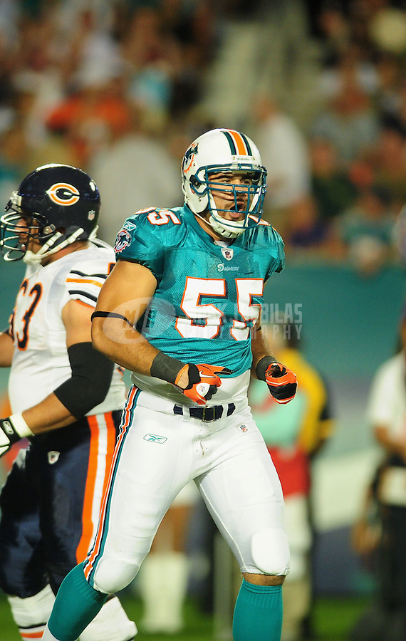 Nov. 18, 2010;  Miami, FL, USA; Miami Dolphins linebacker (55) Koa Misi against the Chicago Bears at Sun Life Stadium. Mandatory Credit: Mark J. Rebilas-