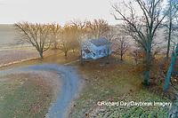 63895-16705 Pleasant Grove Methodist Church at sunrise in fog-aerial-Marion Co. IL