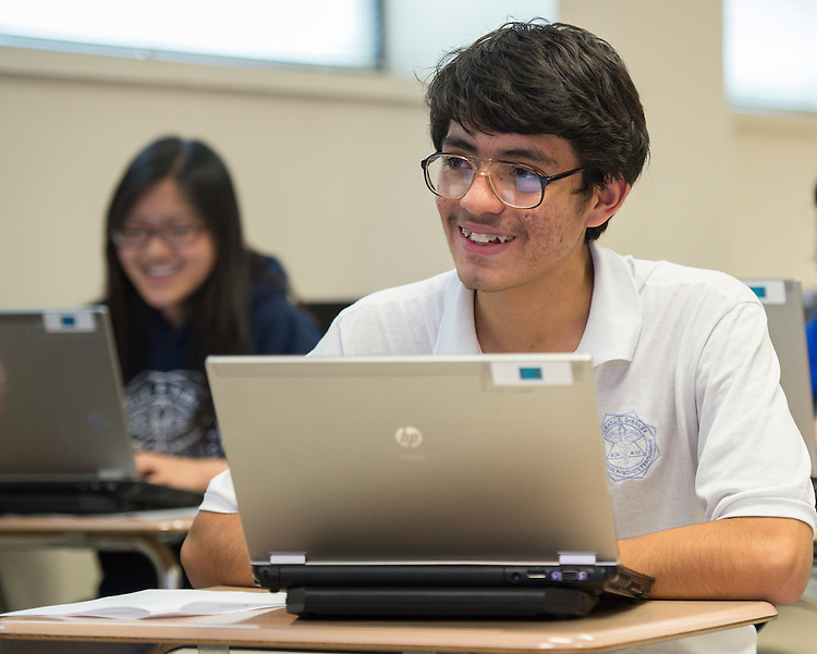 Edgar Avina works on a computer program at DeBakey High School for Health Professionals, January 30, 2014.