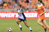 Houston, TX - Saturday July 15, 2017: Mallory Pugh brings the ball up the field during a regular season National Women's Soccer League (NWSL) match between the Houston Dash and the Washington Spirit at BBVA Compass Stadium.