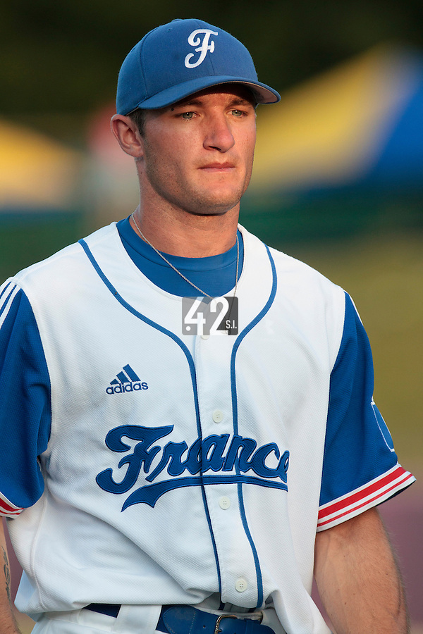 31 July 2010: Joris Bert of Team France walks back to the dugout as he pitches against Greece during the Greece 14-5 win over France, at the 2010 European Championship, in Heidenheim, Germany.