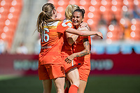 Houston, TX - Saturday May 13, Houston Dash defender Poliana Barbosa Medeiros (2) celebrates after scoring a goal with Houston Dash forward Kealia Ohai (7) and Houston Dash forward Janine Beckie (16) during a regular season National Women's Soccer League (NWSL) match between the Houston Dash and Sky Blue FC at BBVA Compass Stadium. Sky Blue won the game 3-1.