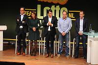 SCHAATSEN: UTRECHT: 23-10-2014, TivoliVredenburg, Perspresentatie Team LottoNL - Jumbo, Arno de Jong (Marketing Directeur van De Lotto), Colette Cloosterman-van Eerd (directeur Formule en Innovatie bij Jumbo Supermarkten), Marco van Bilsen (Marketing Directeur van BrandLoyalty), Jac Orie (Trainer Schaatsploeg), Richard Plugge (Manager Wielerploeg), ©foto Martin de Jong