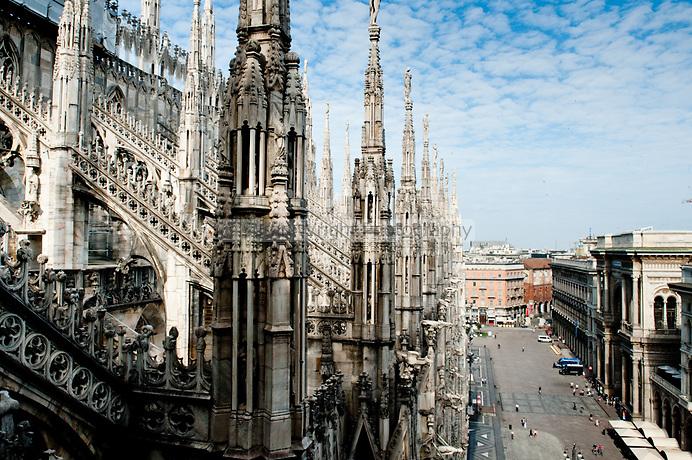 Milan Art Tour - view from Duomo Terraces, Milan Details of Il Duomo, Milan, Italy
