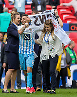 Coventry City Head of Communications Laura Hunter celebrates at full time with Ruben Lameiras of Coventry City during the The Checkatrade Trophy / EFL Trophy FINAL match between Oxford United and Coventry City at Wembley Stadium, London, England on 2 April 2017. Photo by Kevin Prescod.
