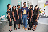 Lachelle Johnson, Riqua Hailes, Honorable Mayor Butts, Joy Landrum, Shamica Simmons, and Tanika Durham attend Just Weaves By Just Extensions Opens Up Its First Premium Weaving Installation Store In Inglewood, California
