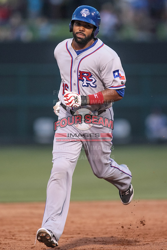 Joey Butler (16) of the Round Rock Express rounding the bases during the Pacific Coast League game against Oklahoma City RedHawks the at Chickashaw Bricktown Ballpark on June 14, 2013 in Oklahoma City ,Oklahoma.  (William Purnell/Four Seam Images)