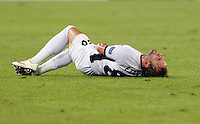 Calcio, Europa League: Roma vs Astra Giurgiu. Roma, stadio Olimpico, 29 settembre 2016.<br /> Astra Giurgiu&rsquo;s Filipe Teixeira lies on the pitch after being injured during the Europa League Group E soccer match between Roma and Astra Giurgiu at Rome's Olympic stadium, 29 September 2016. Roma won 4-0.<br /> UPDATE IMAGES PRESS/Riccardo De Luca