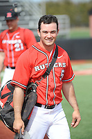 Rutgers University Scarlet Knights infielder Nick Favatella (5) after a game against the University of Cincinnati Bearcats at Bainton Field on April 19, 2014 in Piscataway, New Jersey. Rutgers defeated Cincinnati 4-1.  (Tomasso DeRosa/ Four Seam Images)