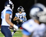 Mater Dei quarterback Reed Braundmeier looks downfield. Mater Dei played football at Althoff on Friday September 13, 2019. <br /> Tim Vizer/Special to STLhighschoolsports.com