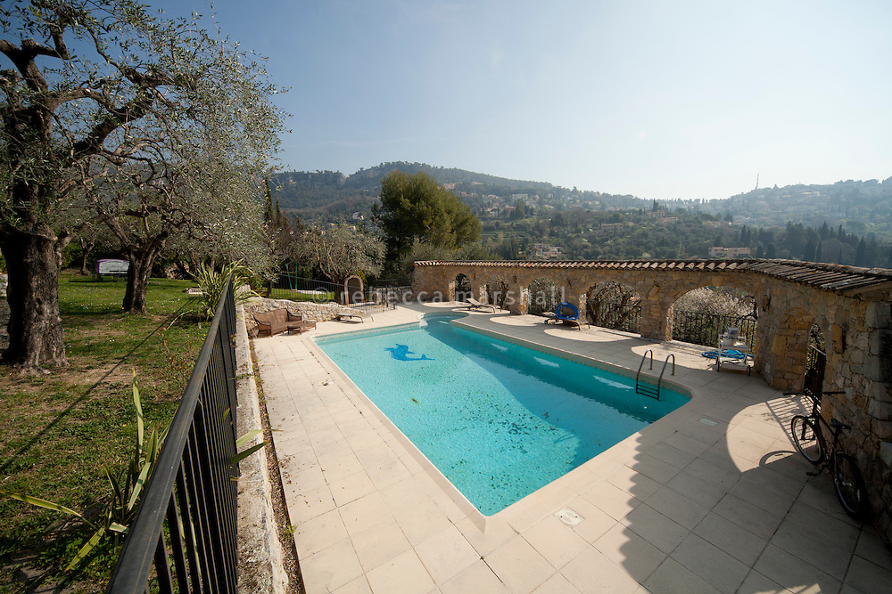 Swimming pool in the garden of Nicole Bekdache's home, Grasse, France, 30 March 2012.