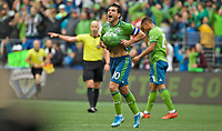 SEATTLE, WA - NOVEMBER 10: Seattle Sounders midfielder Nicolas Lodeiro #10 celebrates after winning the MLS Cup during a game between Toronto FC and Seattle Sounders FC at CenturyLink Field on November 10, 2019 in Seattle, Washington.