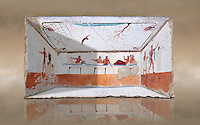 "Reconstruction of  the inside of the Greek Tomb of  the Diver  [La Tomba del Truffatore]. The rear panel is from one of the long sides of the tomb and shows a symposium of men lying on couches facing low tables.  The men on the couches are playing the song of Eros the liar and the flute to distract the deceased from worldly thoughts so he can enter the next world. The fresco on the lid of the tomb and shows a  diving from a column into water. The column represents the border of thye known world and therefore the limit of man's knowledge.  The dive represents the passage form this world to the next. The tomb is painted with the true fresco technique and its importance lies in being ""the only example of Greek painting with figured scenes dating from the Orientalizing, Archaic, or Classical periods to survive in its entirety. Paestrum, Andriuolo.  (480-470 BC  )"
