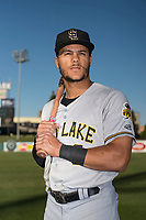 Salt Lake City Bees outfielder Michael Hermosillo (6) poses for a photo before a Pacific Coast League game against the Fresno Grizzlies at Chukchansi Park on May 14, 2018 in Fresno, California. Fresno defeated Salt Lake City 4-3. (Zachary Lucy/Four Seam Images)