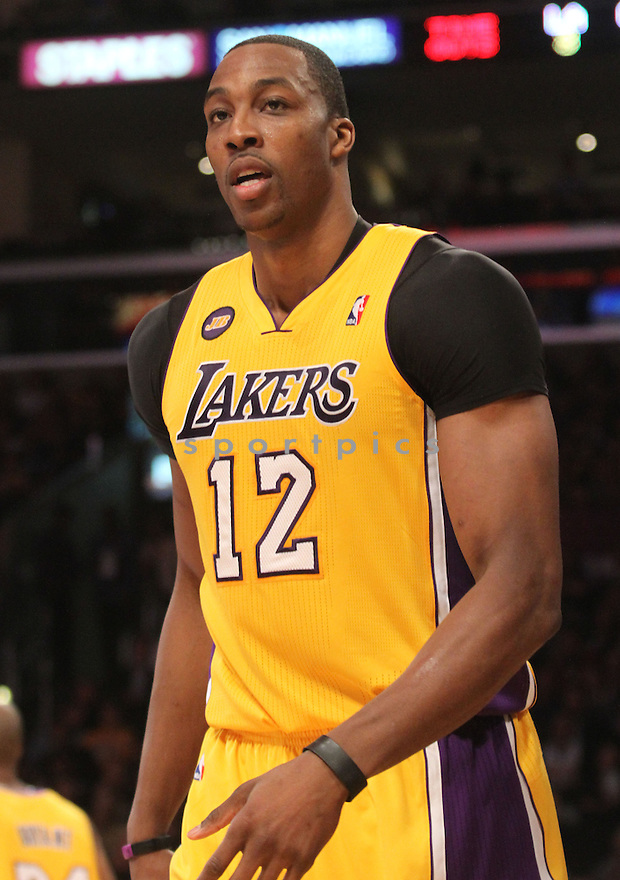 Los Angeles Lakers Dwight Howard (12) during a game against the Golden State Warriors on April 12, 2013 at the Staples Center in Los Angeles, CA. The Lakers beat the Warriors 118-116..