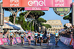 The winning Team Sky with overall victor Chris Froome (GBR) Maglia Rosa cross the finish line at the end of Stage 21 his 3rd stage of the 2018 Giro d'Italia, running 115km around the centre of Rome, Italy. 27th May 2018.<br /> Picture: LaPresse/Gian Mattia D'Alberto | Cyclefile<br /> <br /> <br /> All photos usage must carry mandatory copyright credit (&copy; Cyclefile | LaPresse/Gian Mattia D'Alberto)