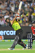 10th February 2018, Melbourne Cricket Ground, Melbourne, Australia; International Twenty20 Cricket, Australia versus England;  Glenn Maxwell of Australia hits a boundary