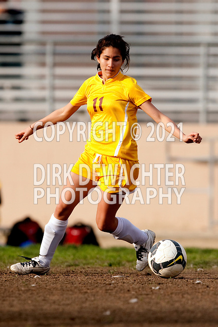 Los Angeles, CA 02/01/10 - Emily Pulido (Fairfax #11) in action during the Westchester vs Fairfax Girls Varsity soccer game at Fairfax High School.