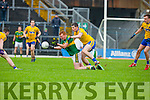 Kerry Johnny Buckley is tackled by Cathal Shine Roscommon during their NFKL Div 1 clash in Fitzgerald Stadium on Sunday