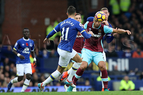 30.10.2016. Goodison Park, Liverpool, England. Premier League Football. Everton versus West Ham United. Winston Reid of West Ham United tussles with Ross Barkley of Everton in midfield.