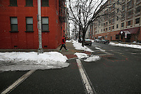 A man walks by a street in Hoboken on March 03,2015. The United Nations this week named Hoboken as a role model when it comes to its plans for flood protection. The city its also the second one on this category in the U.S Hoboken. Kena Betancur/VIEWpress.
