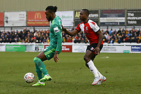 Nathaniel Chalobah of Watford and Jamar Loza of Woking during Woking vs Watford, Emirates FA Cup Football at The Laithwaite Community Stadium on 6th January 2019