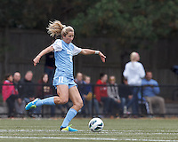 University of North Carolina midfielder Kelly McFarlane (11) controls the ball.  University of North Carolina (blue) defeated Boston College (white), 1-0, at Newton Campus Field, on October 13, 2013.