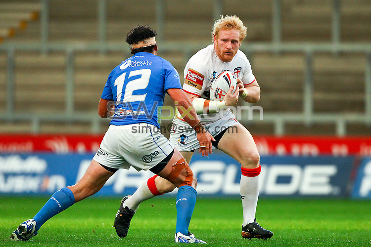 Picture by Alex Whitehead/SWpix.com - 19/10/2013 - Rugby League - Rugby League World Cup Warm-up Friendly Match - England v Italy - Salford City Stadium, Eccles, England - England's James Graham in action.