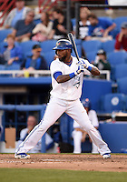 Dunedin Blue Jays shortstop Jose Reyes (7) - on rehab assignment from the Toronto Blue Jays -  at bat during a game against the Daytona Cubs on April 16, 2014 at Florida Auto Exchange Stadium in Dunedin, Florida.  Dunedin defeated Daytona 5-1.  (Mike Janes/Four Seam Images)