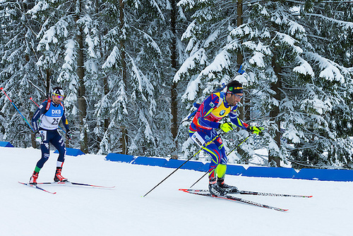 05.03.2016. Oslo Holmenkollen, Oslo, Norway. IBU Biathlon World Championships. L-R  Christian De Lorenzi of Italy,  Martin Fourcade of France competes in the men 10km sprint competition during the IBU World Championships Biathlon in Holmenkollen Oslo, Norway.