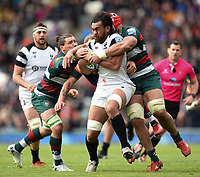 Steven Luatua of Bristol Bears takes on the Leinster defence. Gallagher Premiership match, between Leicester Tigers and Bristol Bears on April 27, 2019 at Welford Road in Leicester, England. Photo by: Patrick Khachfe / JMP
