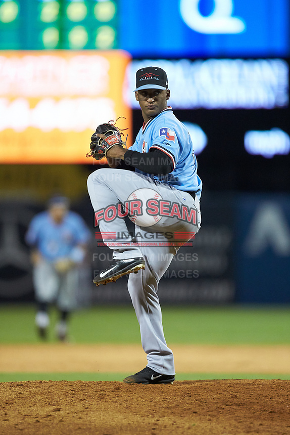 Hickory Crawdads relief pitcher Kelvin Gonzalez (38) in action against the Ocelotes de Greensboro at First National Bank Field on June 11, 2019 in Greensboro, North Carolina. The Crawdads defeated the Ocelotes 2-1. (Brian Westerholt/Four Seam Images)