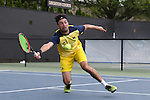 14 May 2016: Michigan's Jathan Malik (ENG). The Wake Forest University Demon Deacons hosted the University of Michigan Wolverines at the Wake Forest Tennis Center in Winston-Salem, North Carolina in a 2015-16 NCAA Division I Men's Tennis Tournament Second Round match. Wake Forest won the match 4-2.