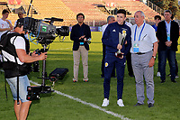 Michael Johnston of Scotland U21's is presented with his award. Third best player of the Tournament Trophy during Turkey Under-21 vs Scotland Under-21, Tournoi Maurice Revello Football at Stade Francis Turcan on 9th June 2018