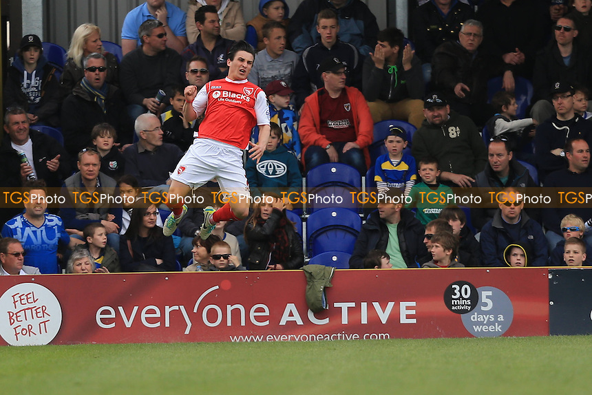 Jack Redshaw of Morecambe celebrates the opener - AFC Wimbledon vs Morecambe - Sky Bet League Two Football at Kingsmeadow, Norbiton, London - 26/04/14 - MANDATORY CREDIT: Simon Roe/TGSPHOTO - Self billing applies where appropriate - 0845 094 6026 - contact@tgsphoto.co.uk - NO UNPAID USE