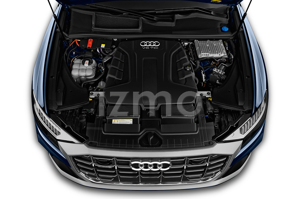 Car stock 2019 Audi Q8 S Line 5 Door SUV engine high angle detail view