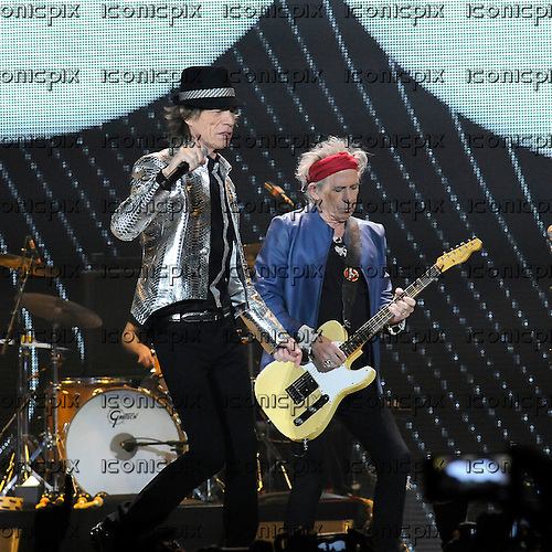 ROLLING STONES - 50TH ANNIVERSARY - L-R: Mick Jagger and Keith Richards - perfomring live on the second of two sold out nights at the O2 Arena in London UK - 29 Nov 2012.  Photo credit: George Chin/IconicPix
