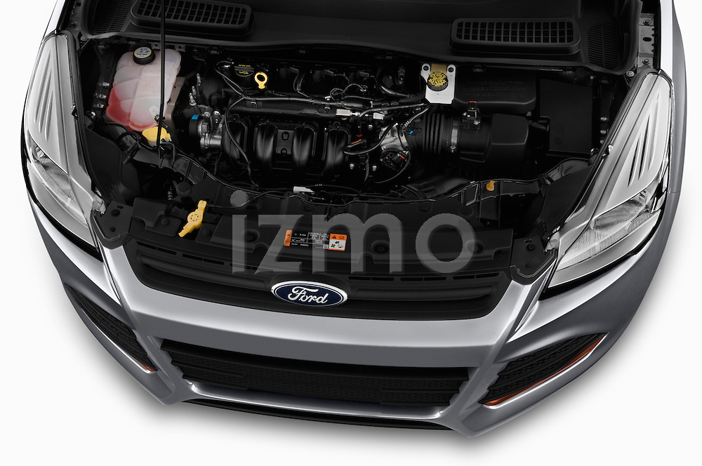 High angle engine detail of a  .2013 Ford Escape S