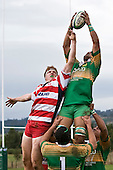 Andrew McConchie tries to disrupt Kolo Vea as he takes lineout ball during the Counties Manukau Premier Club Rugby game between Drury & Karaka played at the Drury Domain on Saturday April 26th, 2008..Karak won the game 30 -6 after leading 8 -3 at halftime.