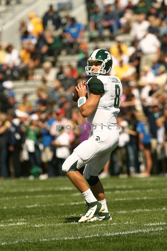 KIRK COUSINS, of the Michigan State Spartans, in action during Michigan States game against Notre Dame on September 17, 2011 at Notre Dame Stadium in South Bend, IN. Notre Dame beat Michigan State 31-13.