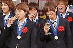 Aya Miyama (JPN), Nahomi Kawasumi (JPN), DECEMBER 27, 2011 - Football / Soccer : Aya Miyama and Nahomi Kawasumi of Japan attend Celebration party for FIFA Women's World Cup Champion at Tokyo Dome City in Tokyo, Japan. (Photo by Yusuke Nakanishi/AFLO SPORT) [1090]
