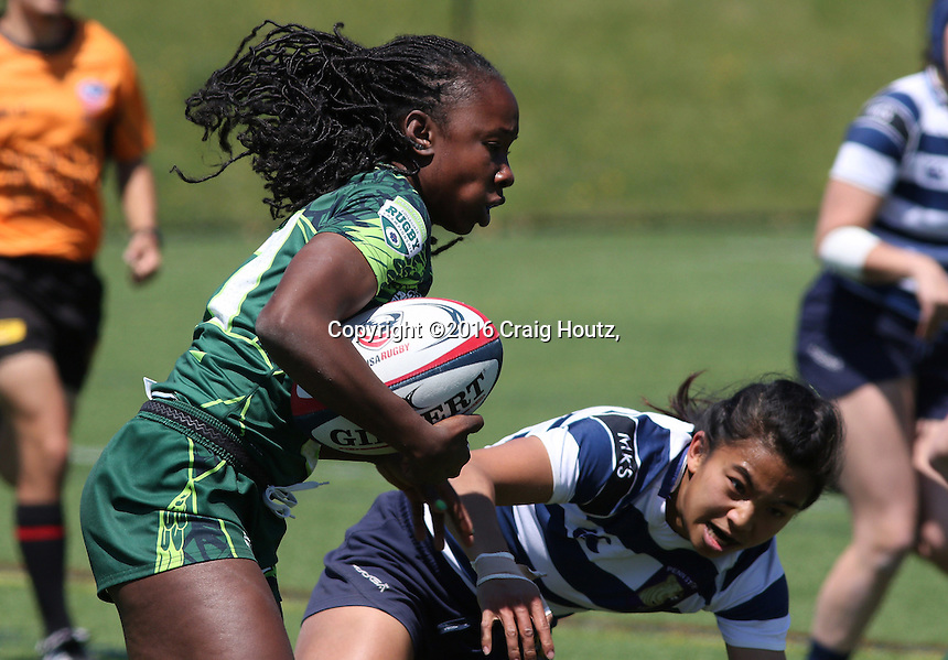 Penn State women's rugby Elaine Santiago against Life University women's rugby Deshel Ferguson in the D1 Elite Rugby National Championship semi-final on April 24, 2016. Penn State won 13-7. Photo/© 2016 Craig Houtz