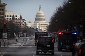 U.S. President Donald Trump's motorcade drives to the U.S. Capitol, for a congressional Gold Medal ceremony for former Senator Bob Dole, in Washington D.C., U.S., on Wednesday, Jan. 17, 2018. Photographer: Al Drago/Bloomberg<br /> Credit: Al Drago / Pool via CNP