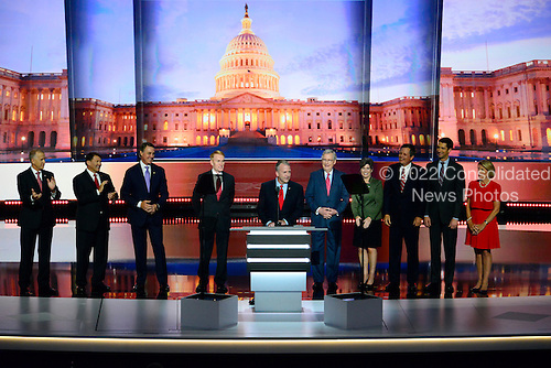 United States Senator Dan Sullivan (Republican of Alaska) makes remarks surrounded by freshman Republican US Senators elected in 2014 and US Senate Majority Leader Mitch McConnell (Republican of Kentucky) at the 2016 Republican National Convention to oder at the Quicken Loans Arena in Cleveland, Ohio on Tuesday, July 19, 2016.<br /> Credit: Ron Sachs / CNP<br /> (RESTRICTION: NO New York or New Jersey Newspapers or newspapers within a 75 mile radius of New York City)