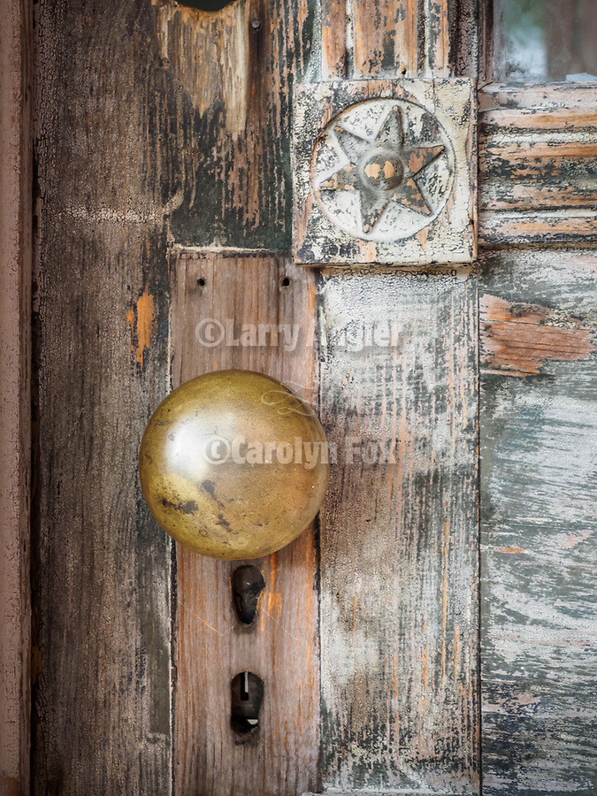 Door knob, Meade Hotel, Ghost town of Bannock, Montana, first territorial capital of the region