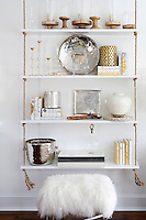 modern hanging shelves Get A Room is a boutique in Scarsdale New York for interior design.