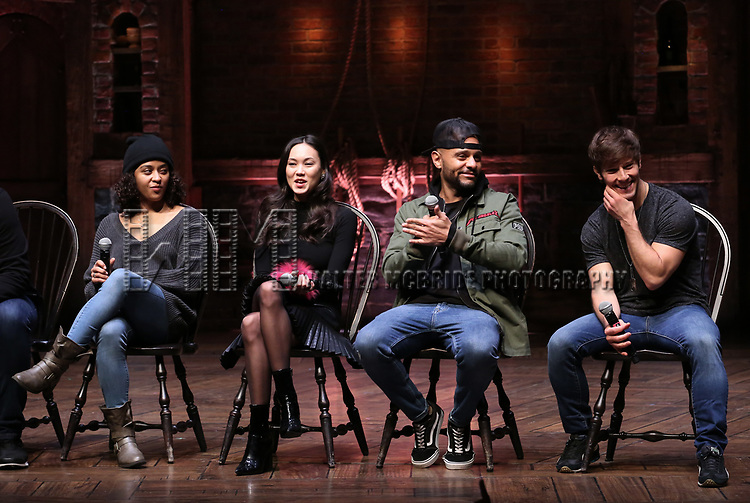 """Sasha Hollinger, Sabrina Imamura, Terrance Spencer and Thayne Jasperson during The Rockefeller Foundation and The Gilder Lehrman Institute of American History sponsored High School student #eduHam matinee performance of """"Hamilton"""" Q & A at the Richard Rodgers Theatre on December 5,, 2018 in New York City."""